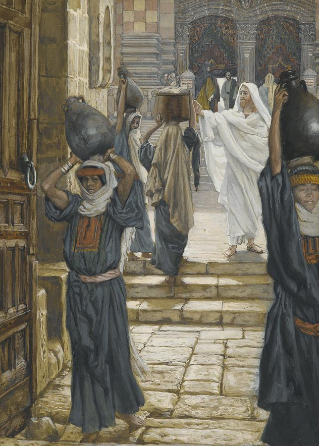 Tissot Painting - Jesus Forbids The Carrying Of Loads In The Forecourt Of The Temple by Tissot
