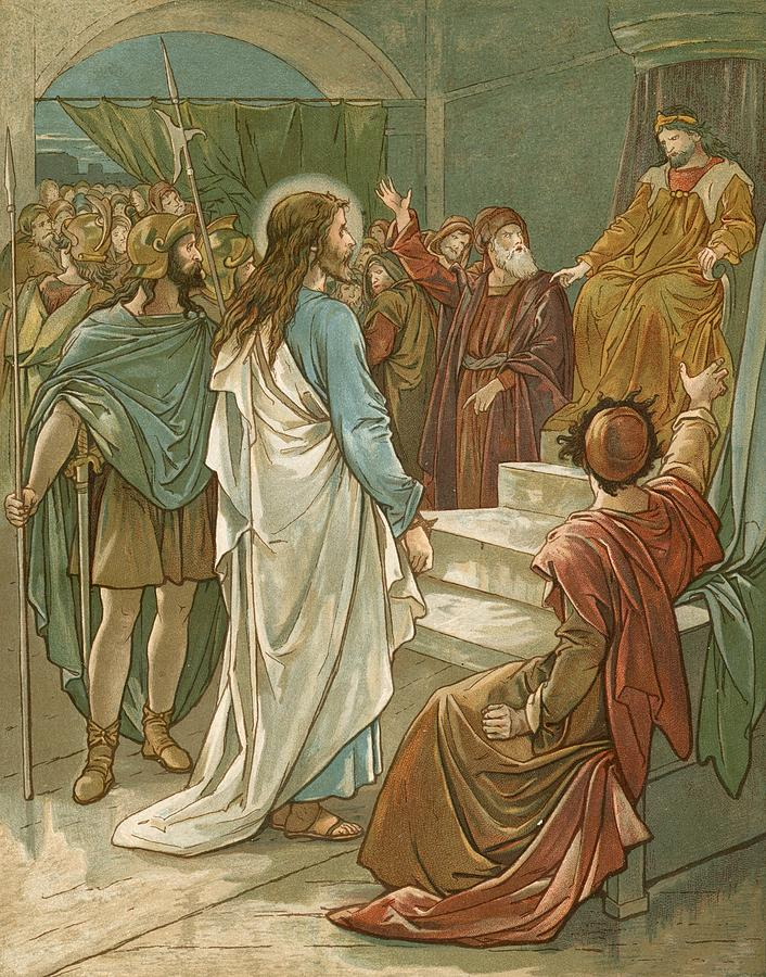 Bible; Jesus Christ; Pontius Pilate; Trial; Soldiers; Romans Painting - Jesus In Front Of Pilate by John Lawson