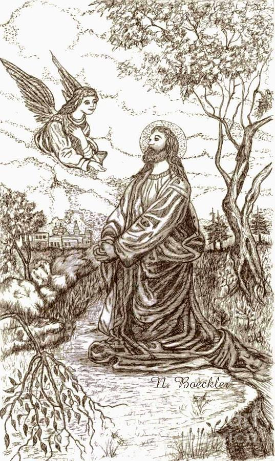 Pen And Ink Artwork Painting - Jesus In The Garden Of Gethsemane by Norma Boeckler