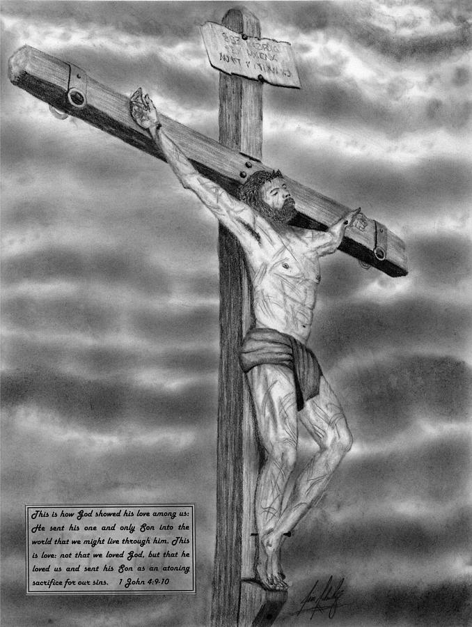 Jesus On The Cross Drawing Drawing by James Schultz