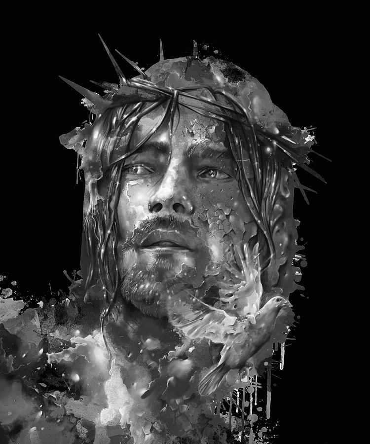 Jesus Portrait Black Digital Art