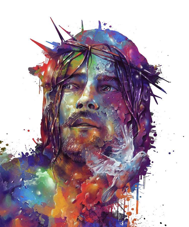 Jesus Portrait Colorful Digital Art