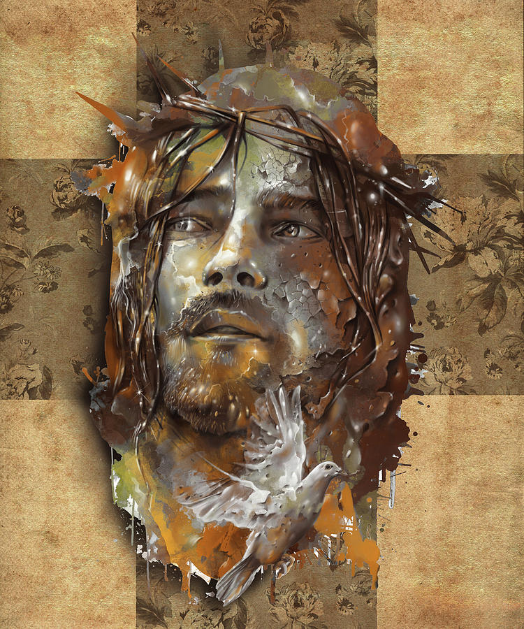 Jesus Portrait Sepia Digital Art