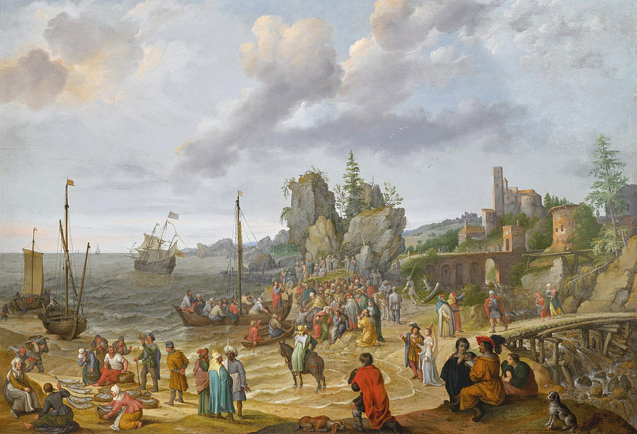 Canvas Prints Painting - Jesus Preaching On The Shores Of The Sea Of Galilee by Abraham Willaerts