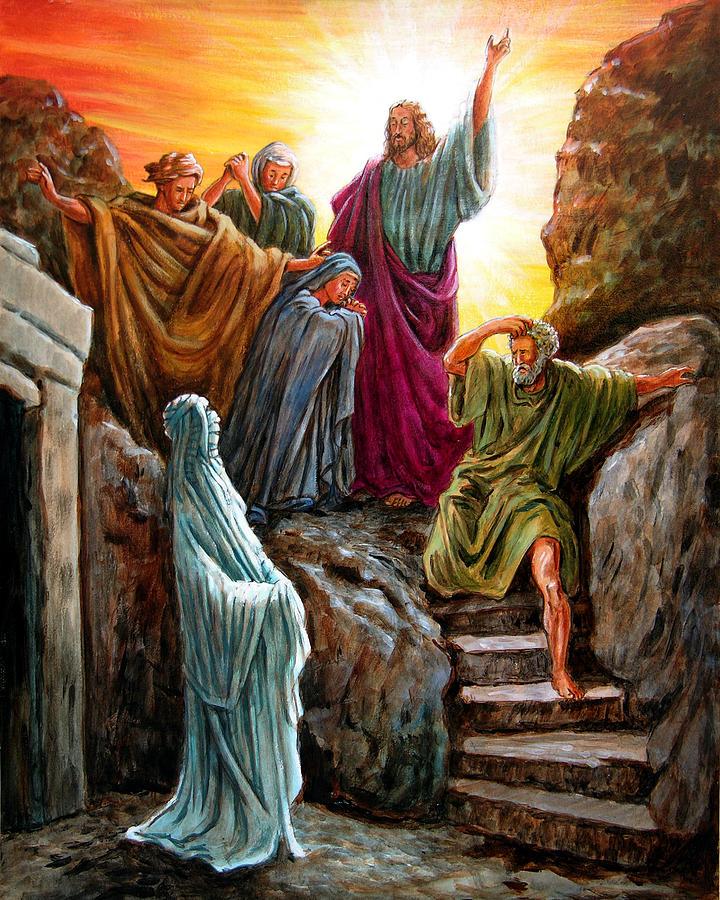 Bible Scene Painting - Jesus Raises Lazarus by John Lautermilch