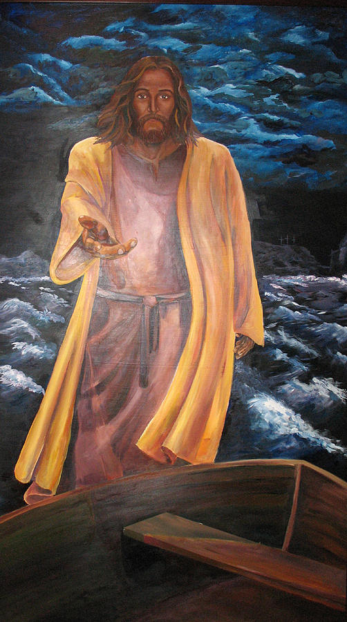 Jesus Painting - Jesus Reaching In The Storm by Kate Westfall