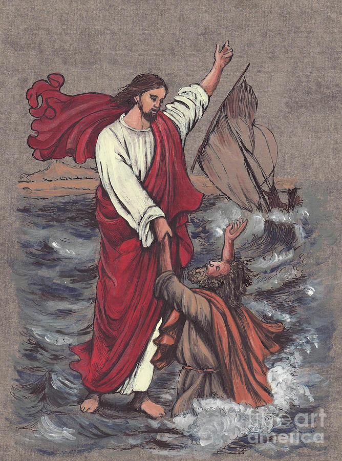 Jesus Painting - Jesus Saves Peter by Morgan Fitzsimons