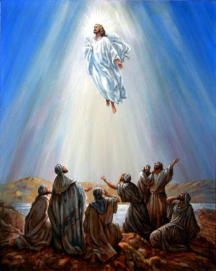 Risen Christ Painting - Jesus Taken Up Into Heaven by John Lautermilch