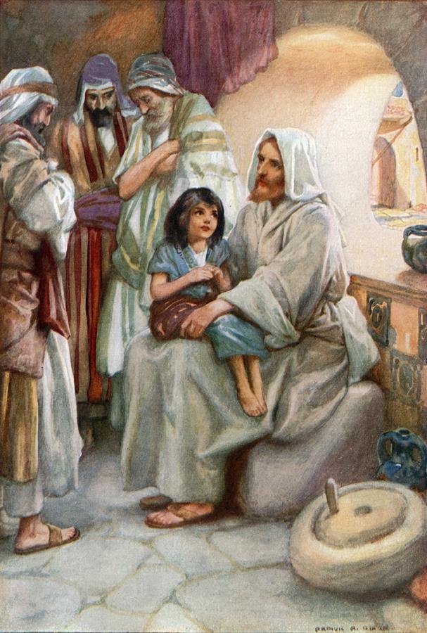 Bible; Biblical; Stories; Jesus; Teaching; People Painting - Jesus Teaching The People by Arthur A Dixon