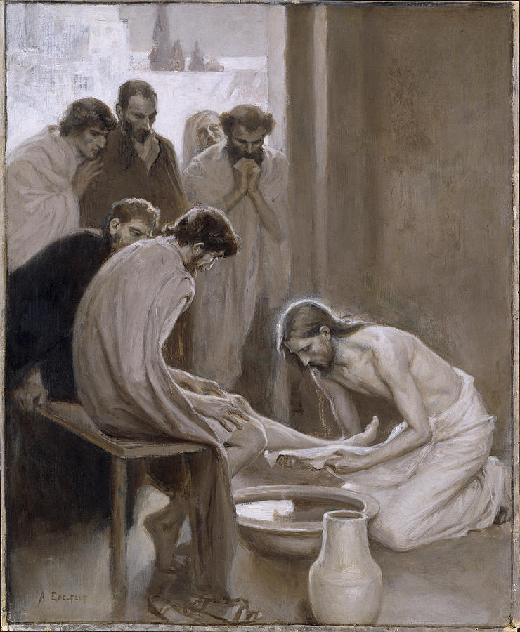 Albert Edelfelt Painting - Jesus Washing The Feet Of His Disciples by Albert Edelfelt