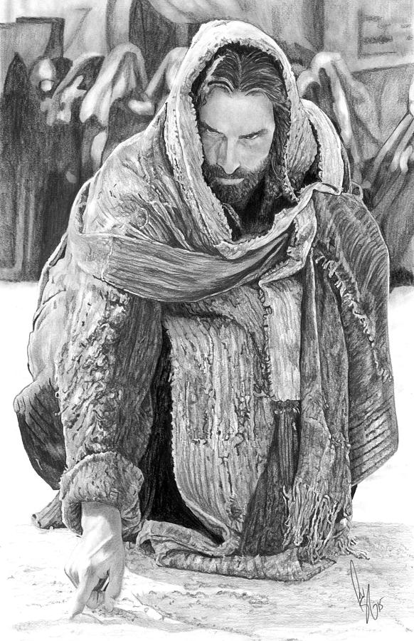 Jesus Writing In The Sand Drawing