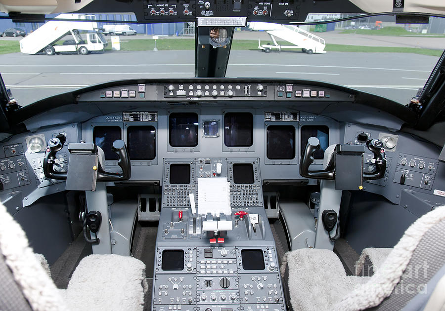 Air Travel Photograph - Jet Airplane Cockpit by Jaak Nilson