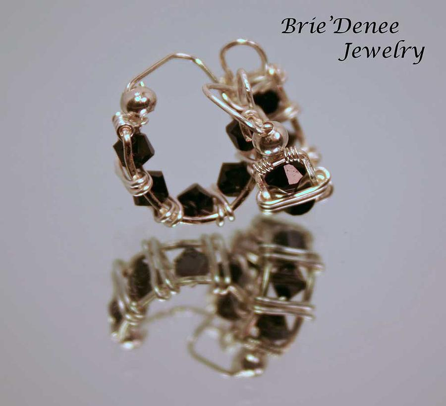 Black Jewelry - Jet Black Crystal Hoops In Silver by Brittney Brownell