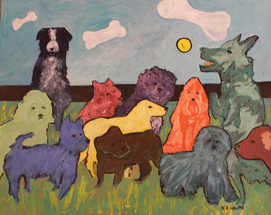 Dogs Painting - Jethros Ball by Nancy Henkel Schulte