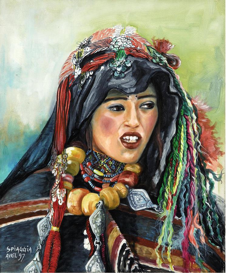Morocco Painting - Jeune Femme Berbere De Atlas Marocain by Josette SPIAGGIA