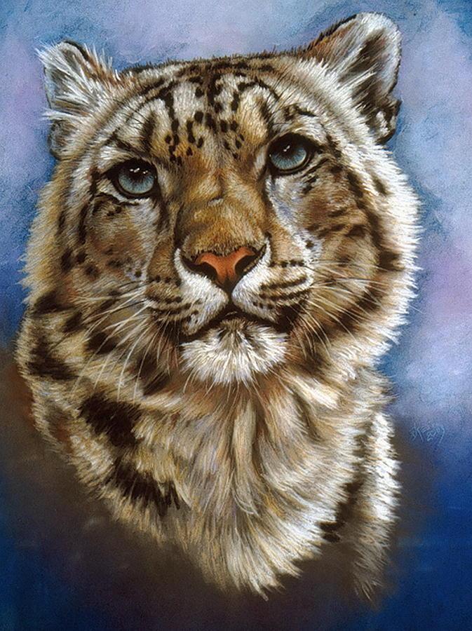 Snow Leopard Pastel - Jewel by Barbara Keith