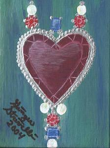 Jewel Heart Painting by Ginger Strivelli