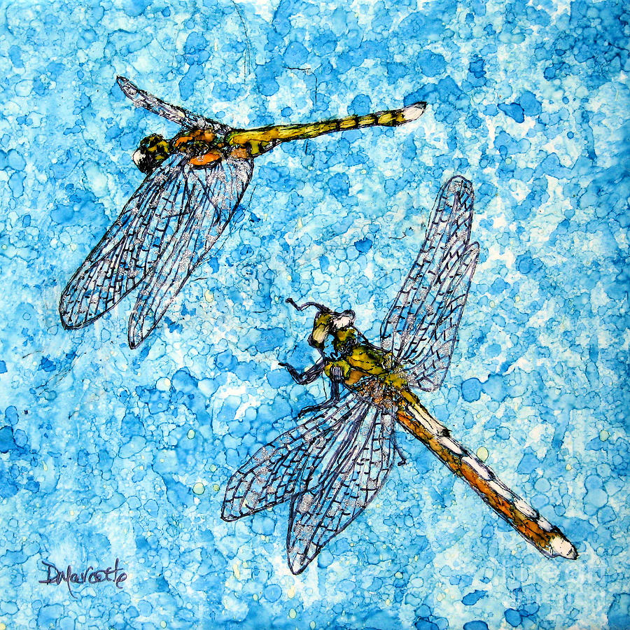 Dragonfly Painting - Jewelled Flight by Diane Marcotte