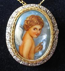 Hand Painted Jewelry - Jewelry-hand Painted Pendant And Brooch Mother Of Pearl Gold 18 Kt And Diamonds Angel by Evelina Pastilati