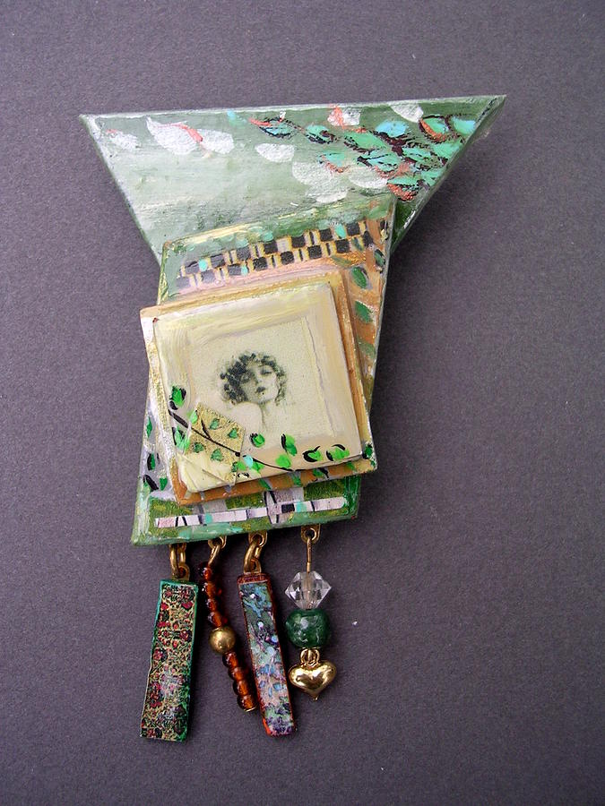 Retro Jewelry - Jewelry Painted Collage Pin Or Neckpace by Barbara Yalof