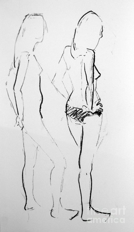 Female Model Drawing - Jewels by Joanne Claxton