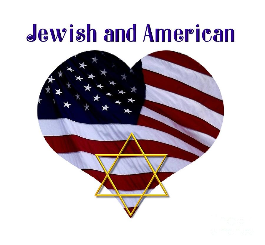 Jewish And American Flag With Star Of David