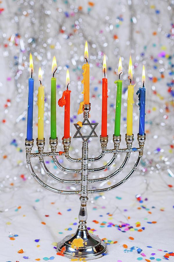 Jewish Holiday Hannukah Symbols Menorah Photograph By Valentyn Semenov