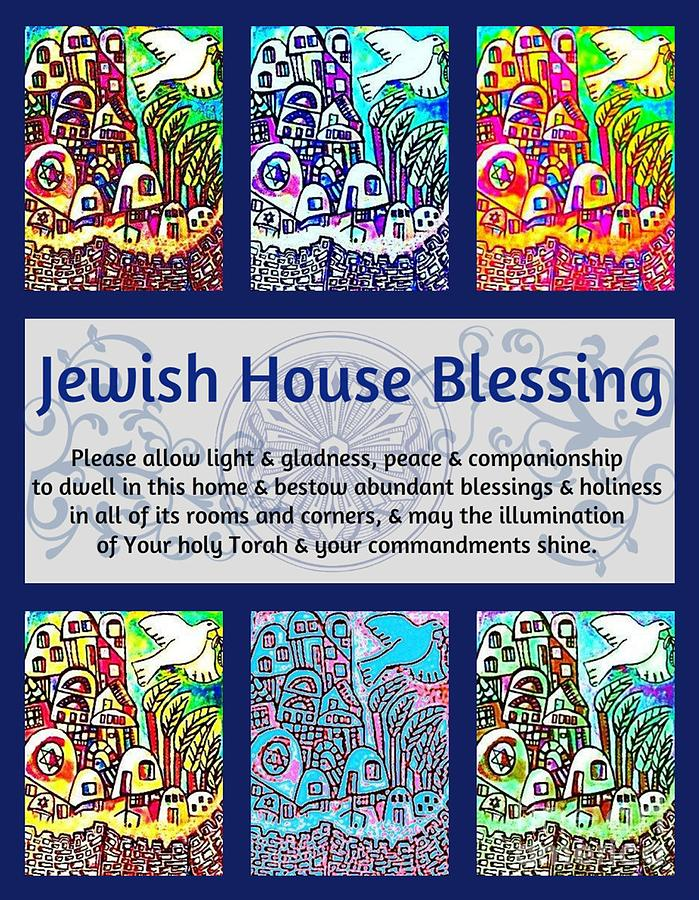 Jewish Painting - Jewish House Blessing City Of Jerusalem by Sandra Silberzweig
