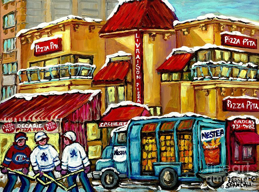 Jewish montreal restaurant hockey art winter scene pizza for Diner artwork