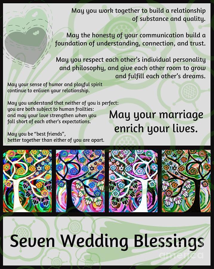 Jewish Painting   Jewish Seven Wedding Blessings Tree Of Life Hamsas By  Sandra Silberzweig