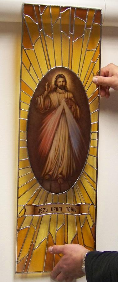 Jezu Ufam Tobie Glass Art - Jezu Ufam Tobie by Justyna Pastuszka