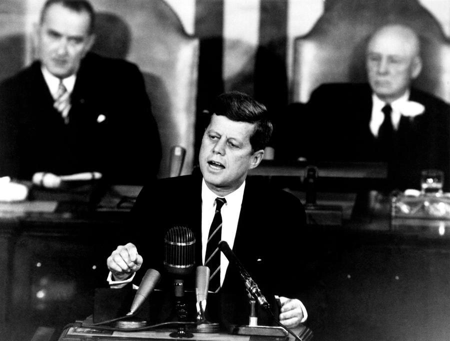Jfk Photograph - Jfk Announces Moon Landing Mission by War Is Hell Store