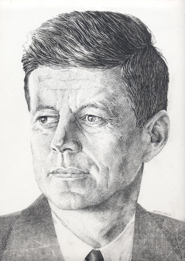 Jfk Drawing - JFK by Marcel Franquelin