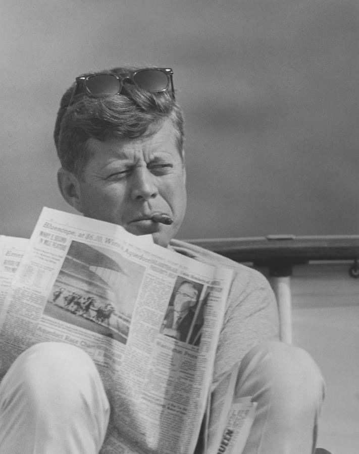 Jfk Photograph - Jfk Relaxing Outside by War Is Hell Store