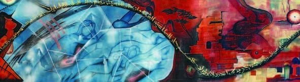 Women Painting - Jidareyyah      Text On Flesh 6 by Marwan Al-Allan