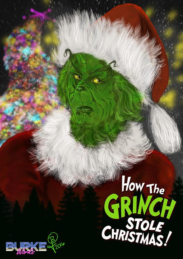 How The Grinch Stole Christmas Digital Art - Jim Carreys Grinch by Joseph Burke