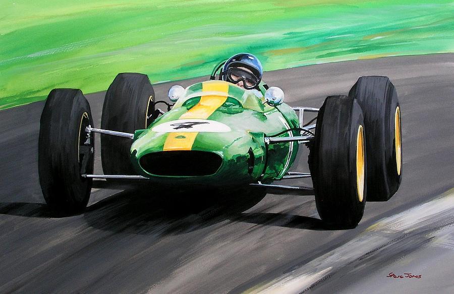Jim Clark Lotus 25 Painting by Steve Jones