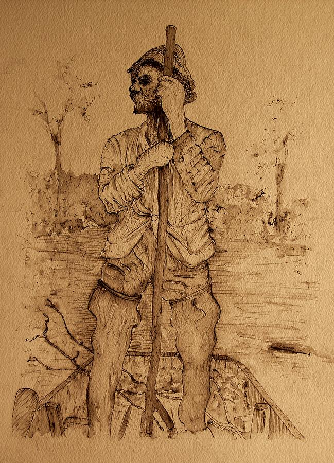 Fisherman Drawing - Jim by Lee M Plate