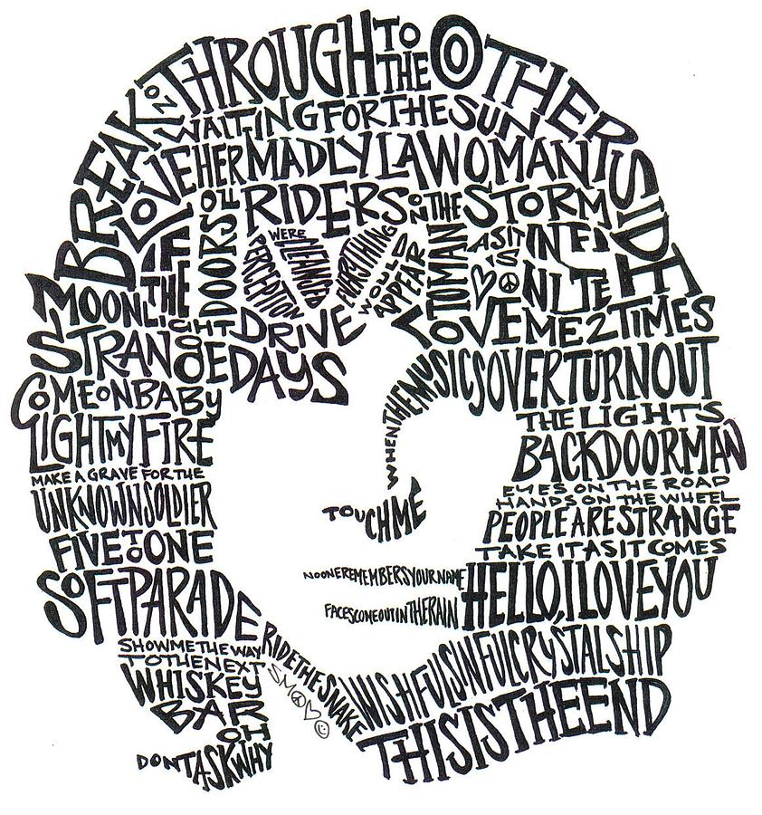 Single Line Word Art : Jim morrison black and white word portrait drawing by kato