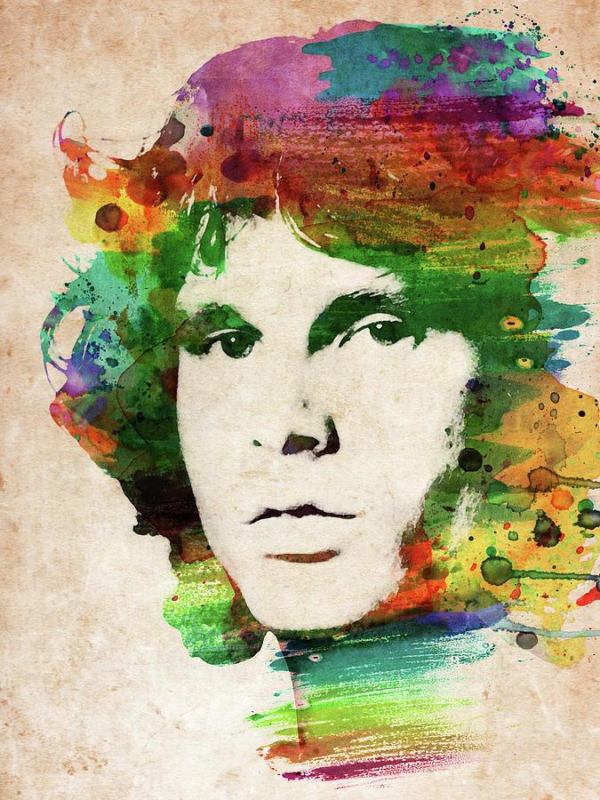Jim Morrison Colorful Portrait Digital Art