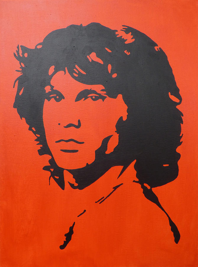 Jim Morrison Red Abstract Pop Art Painting By Nick Randolph