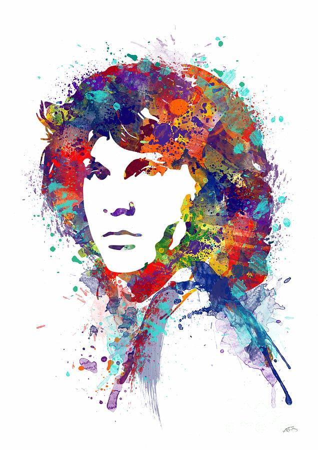 Jim Morrison Watercolor Print Digital Art By Svetla Tancheva
