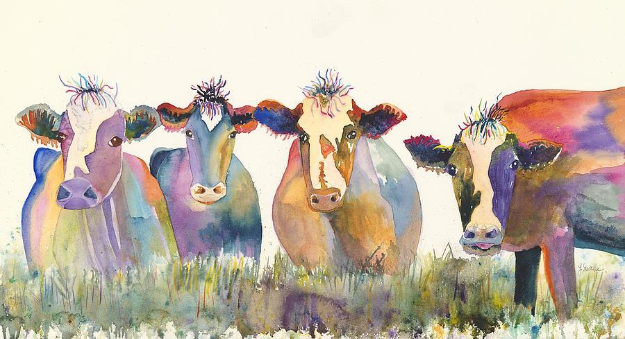 Cows Painting - Jimbos Girls by Linda Swindle