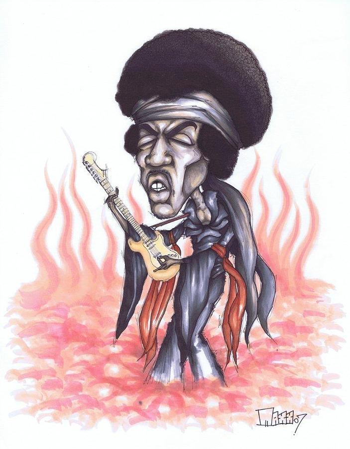 Jimi Hendrix Drawing - Jimi Hendrix 07 by Maxx Kim