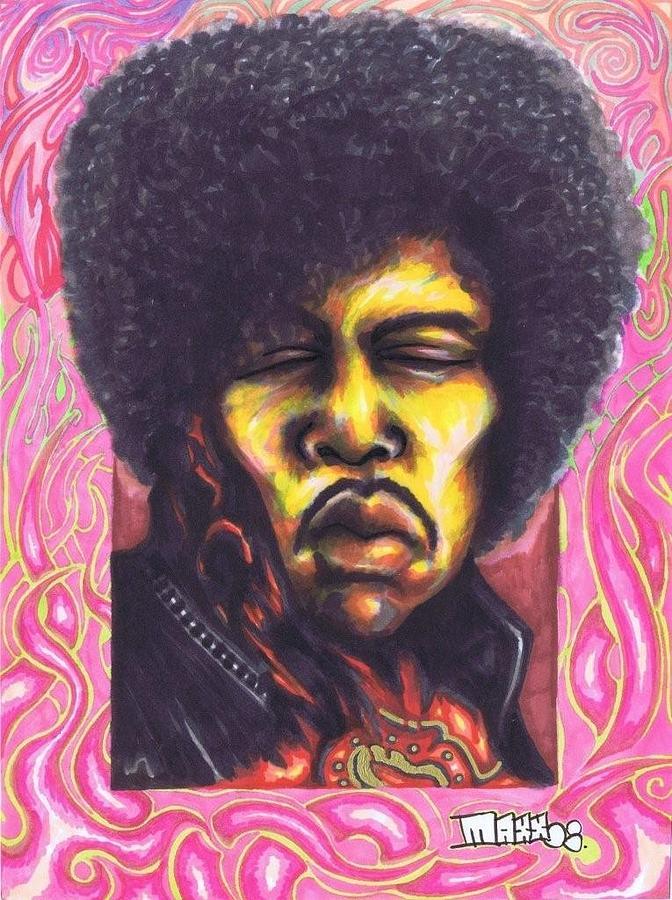 Jimi Hendrix Drawing - Jimi Hendrix 08 by Maxx Kim