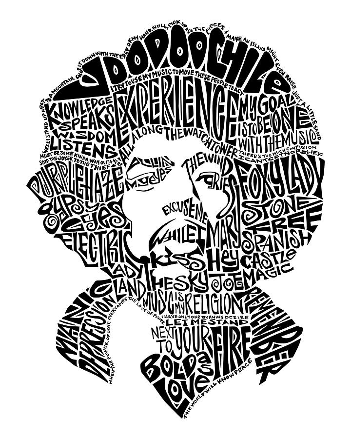 Jimi Hendrix Drawing - Jimi Hendrix Black And White Word Portrait by Inkpaint Wordplay