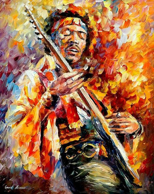 Music Painting - Jimi Hendrix  by Leonid Afremov