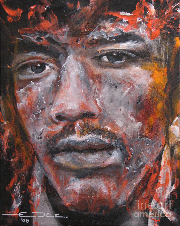 Jim Morrison Painting - Jimi Hendrix Manic Depression by Eric Dee