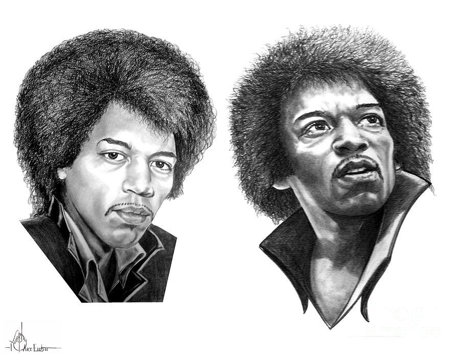 Drawing Drawing - Jimi Hendrix by Murphy Elliott