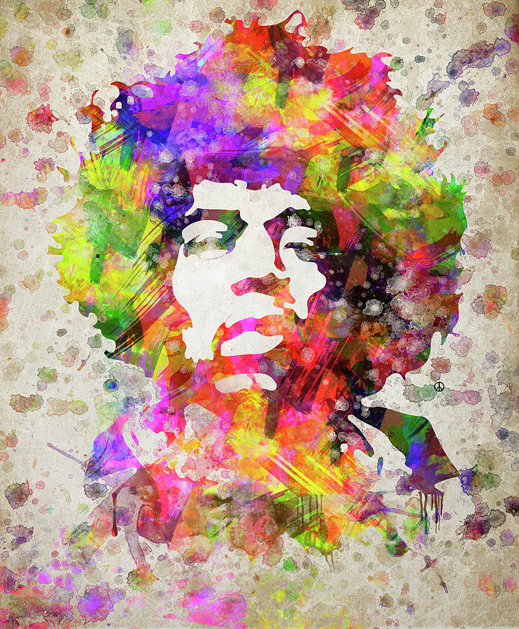 Jimi Hendrix Digital Art - Jimi Hendrix Portrait by Aged Pixel